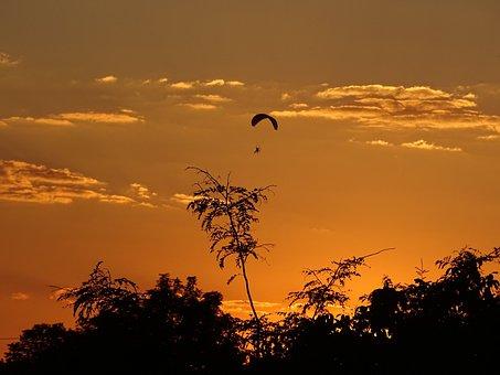 Sky, Sunset, Lights, Nightfall, Mood, Hang Gliders