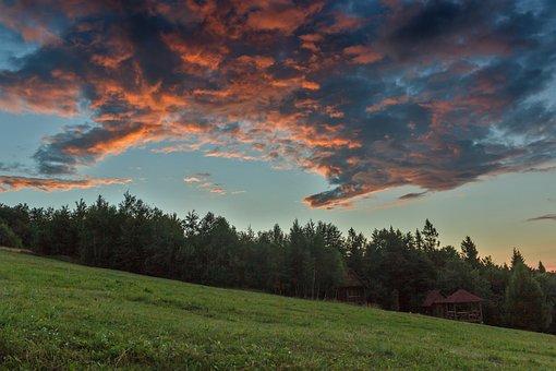 Sky, Clouds, Sunset, Landscape, The Carpathians, Travel