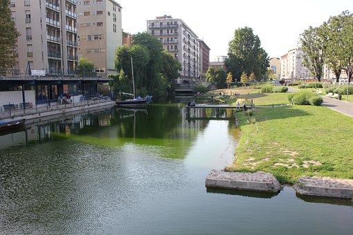 Boathouse, Navigli, Milan, Water, Center, Town