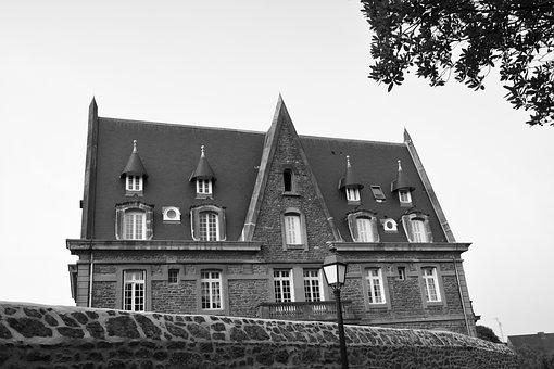 Villa, Mansion, Photo Black White, Beautiful