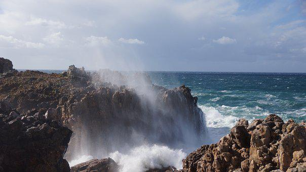 Algarve, Coast, Wave, Spray