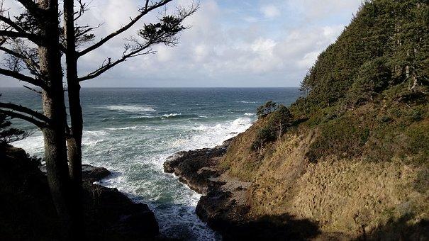 Oregon, Coast, Seascape, Cape Perpetua, Ocean, Winter