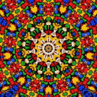 Kaleidoscope, Digital, Art, Pattern, Orange, Colorful