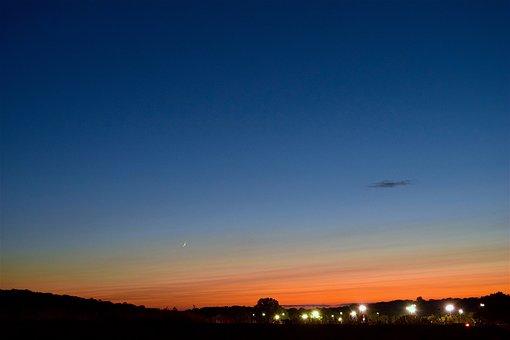 Sunset, Crescent Moon, City Lights, Moon, Sky, Crescent