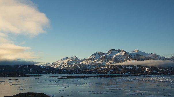 Mountain, Sea, Clouds, Floating, Ice, Snow, Greenland