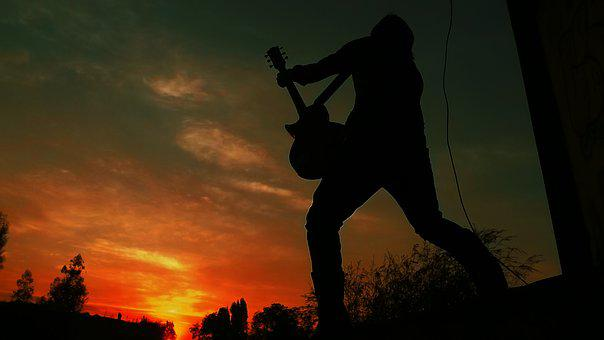 Silhouette, Guy, Guitar, Rockstar, Musician, Instrument