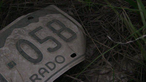 Old, License Plate, Vehicle, Metal, Label, Number