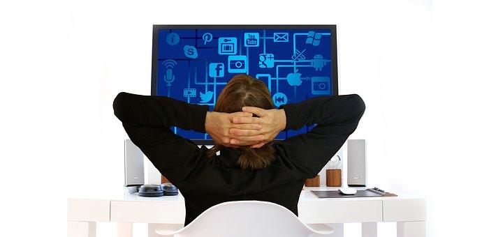 Icon, Woman, Move, Monitor, Pose, Network, Media
