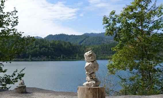 Stones, Mountains, Steinere Manderln, Cairn, Lake
