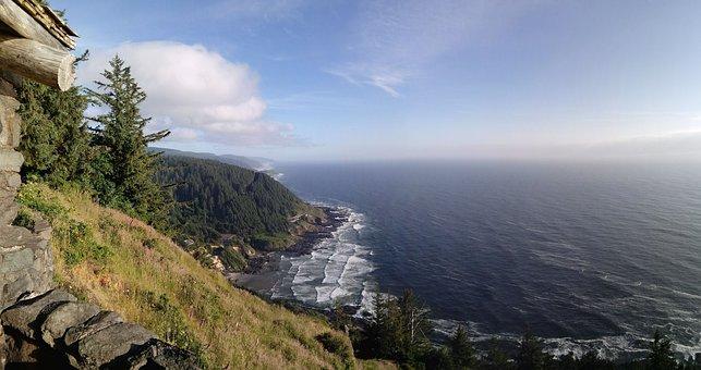 Oregon, Cape Perpetua, Coast, Seascape, Summer