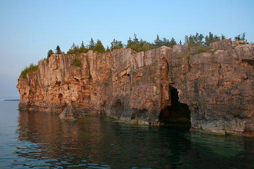 Coast, Cliff, Rocks, Cave, Shore, Lake, Sunset