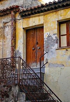 Closed, Door, Time, End, Old, Railing, Casa Antica