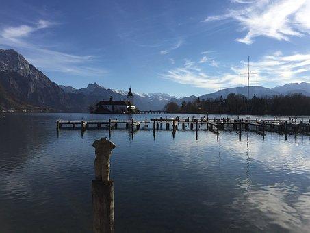 Lake, Castle, Alps, Europe, Travel, Tourism, Landscape