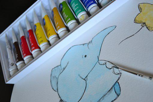 Art, Paint, Watercolour, Watercolor, Elephant Art, Fox