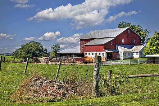 Barn, Rustic, Barns, Red, Fence, Rocks, Debris, Ohio
