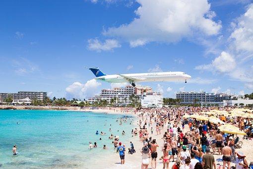 Airplane, Maho Beach, Saint Martin, Sint Maarten, Beach