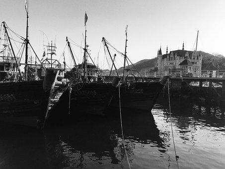 Dalian, Fishing Boats, Black And White