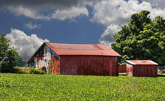 Barn, Rustic, Barns, Ohio, Red, Green, Blue