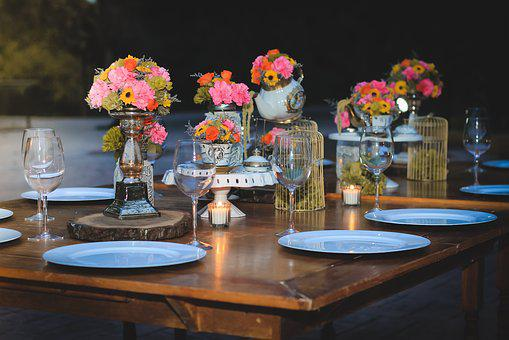 Table, Decoration, Cups, Dishes, Tablecloth