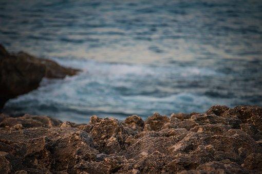 Sea, Blue Sea, Waves, Detail, Stones, Rocks, Coast