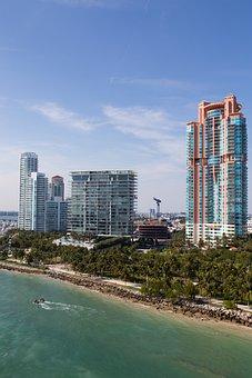 High Rise, Beach, City, Building, Miami, Downtown