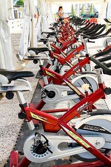 Sport, Woman, Bike, Red, Fitness, Training, Workout