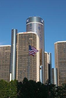Gm, Building, Detroit, Roof, Glass, Outdoor, Exterior