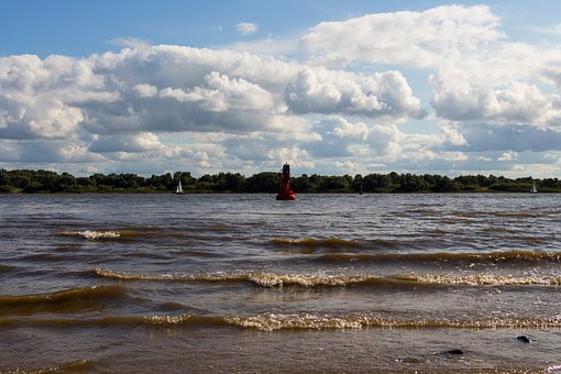 Boje, Elbe, Sea, Hamburg, Water, Port, River, Maritime