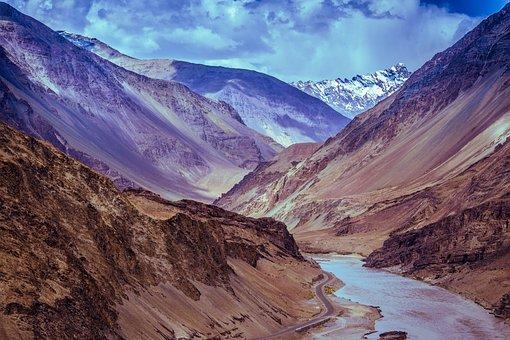 Mountains, River, Leh, Ladakh, India, Kashmir, Sky