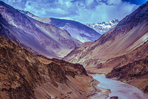 Mountains, River, Leh, Ladakh, India, Kashmir, Sky