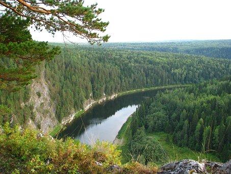 The Chusovaya River, Perm Krai, Sky, Alloy, Clouds