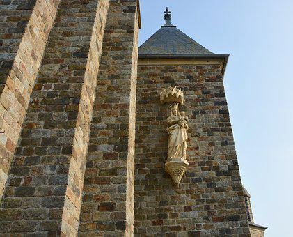 Church, Wall, Architecture, Statue, Virgin Mary Jesus