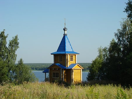 Chapel, Beach, Landscape, The River Kama, Perm Krai