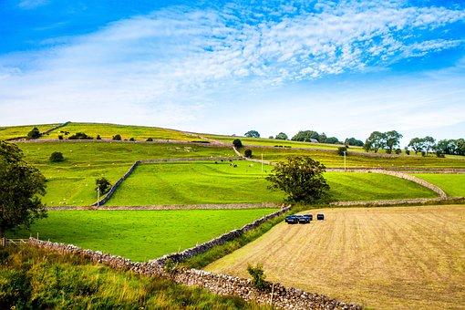 Yorkshire, Burnsall, England, Dales, Wharfe, Uk, Blue