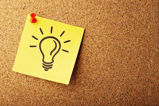 Lightbulb, Concept, Cork, Bulletin, Post, Paper