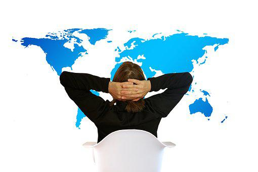Woman, Move, Viewing, World, Continents, Relaxed