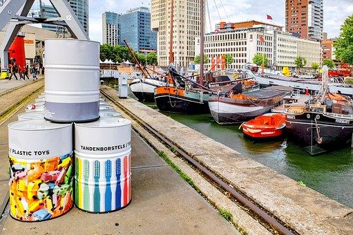 Dock, Boat, Barge, Ship, Barrel, Harbour, Port, Marine