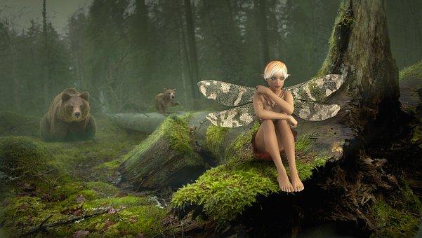 Fairy Tales, Fantasy, Forest, Elf, Bear, Mystical