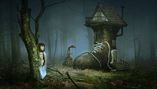 Fairy Tales, Fantasy, Forest, Girl, Children, The Witch