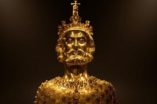 Aachen, Dom, Treasure Chamber, Gold, Bust Of Karl, Head