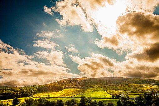 Yorkshire, Burnsall, Sky, England, Dales, Uk, Green
