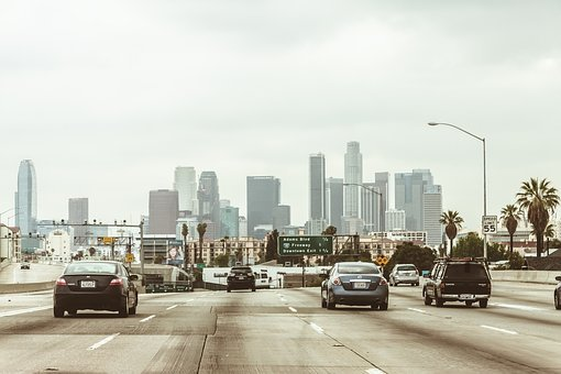 Los Angeles, Downtown, Center, Skyscrapers, Autobahn