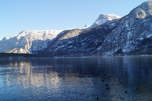 Austria, Hallstatt, Lake, Snow, Mountain, Forest, Water