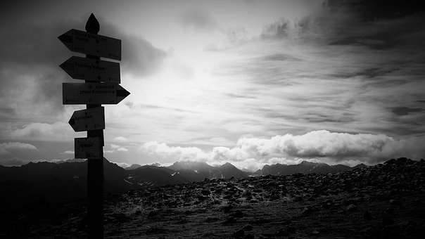 Mountains, Signpost, Tatry, On Stage, Black And White