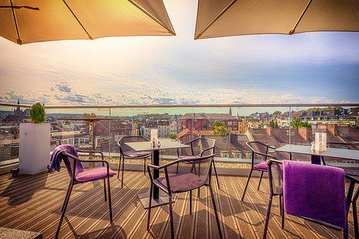 Aachen, Roof, Terrace, Outlook, Chair, Table, Houses