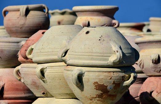 Pottery, Market, Sale, Jugs, Pots, Mediterranean, Italy