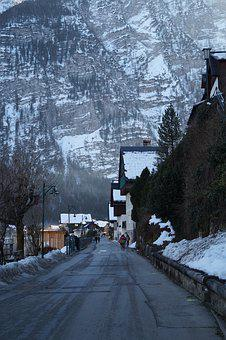 Austria, Hallstatt, Snow, Road, Wood, Mountain