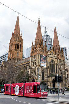 Church, Spire, Spires, Cathedral, City, Tram, Melbourne