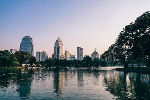 Park, Lumphini, Bangkok, Tree, Thailand, Tower, Pedal