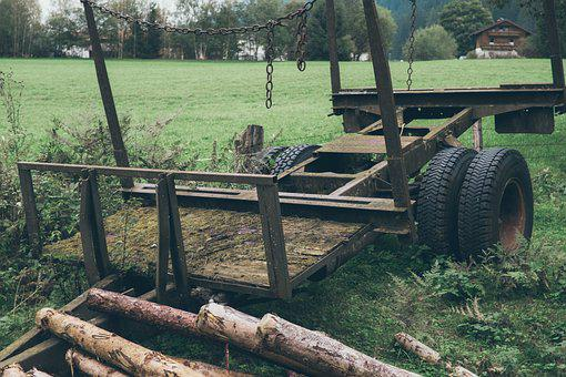 Trailers, Green, Roof, Silent, Old, Wood, Agriculture